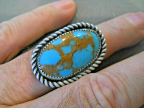 Southwestern Native American Indian Turquoise Sterling Silver Stamped Ring