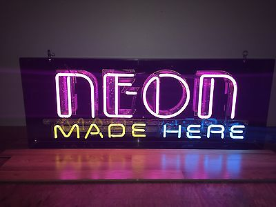 (L@@K) Neon Made Here Custom Stow away Shop Advertising Light Up Sign