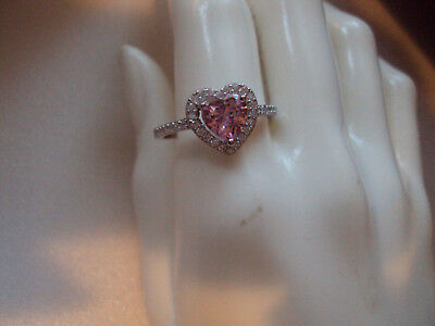 Dad White Ring ( Pink 8mm and white sim diamond Sterling silver ring size 9  DAD-5406 )