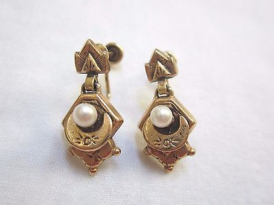 ANTIQUE 14K GOLD AND PEARL DANGLING SCREW BACK EARRINGS