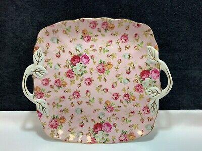 ROYAL DANUBE Porcelain Square TRAY PLATTER SERVING PLATE Pink Gold Floral  Porcelain Square Platter