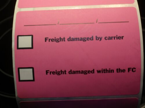 """""""Freight damaged by carrier"""" 4"""" x 3"""" self adhesive labels 4 x 2000 per roll 3"""" c"""