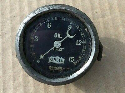 Vintage prewar CAR /  MOTORCYCLE Singer Eureka 0 -15 PSI oil pressure gauge VSCC