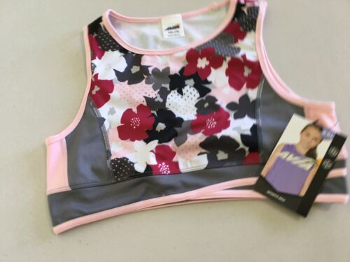NEW Avia Girls Active Wear Sports Bra Floral Gray Pink