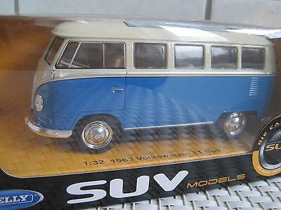 VW Bus T1 1963 blau ca.13,5cm Maßstab 1:32 ideal als Ladegut *NEU* Top Auto