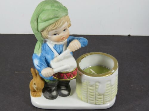 Vintage Hand Painted Drummer Boy Ceramic Christmas Candle Holder Decor A9177