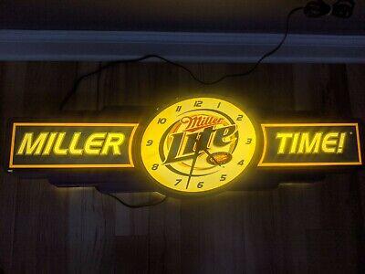"""36"""" VINTAGE MILLER LITE BEER LIGHTED CLOCK SIGN MILLER TIME BAR LIGHT RARE"""