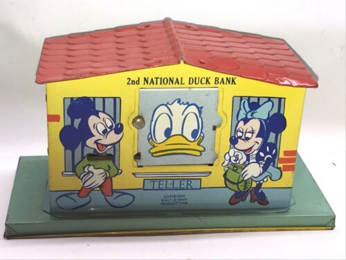 Mint Tin J. Chein Disney 2nd National Duck Bank Mechanical Bank Mickey Minnie