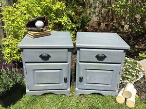 Rustic grey solid pine bedside tables