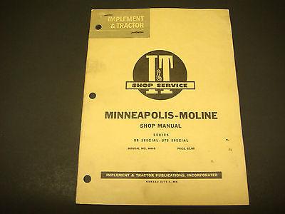 I T Shop Service Manual Minneapolis-moline Mm-8 Models Ub Uts Special