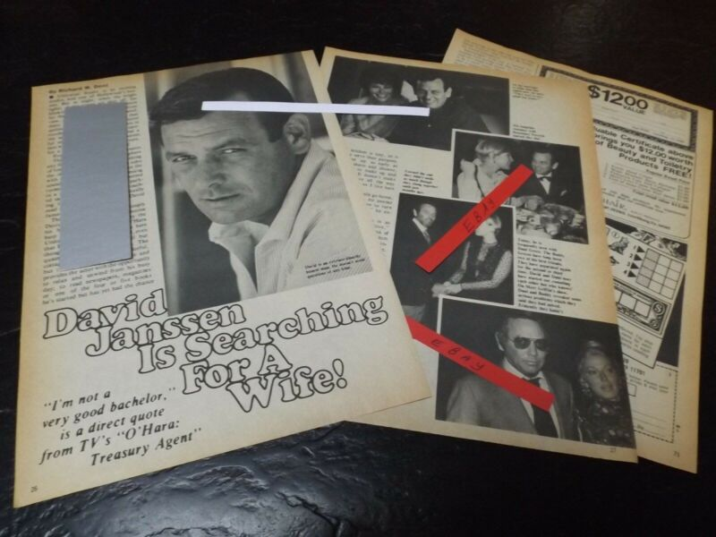 1972 DAVID JANSSEN MAGAZINE ARTICLE CLIPPING IS SEARCHING FOR A WIFE!