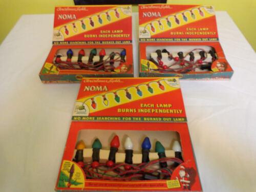 3 Vintage Noma #3010 Christmas Lights Original Box Bakelite Socket Plug USA 1939