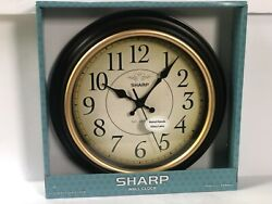 Wall Clock SHARP Vintage Style NEW farmhouse country antique old world gold