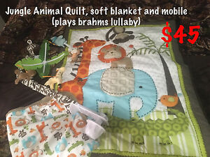 Jungle Animal quilt, soft blanket and mobile