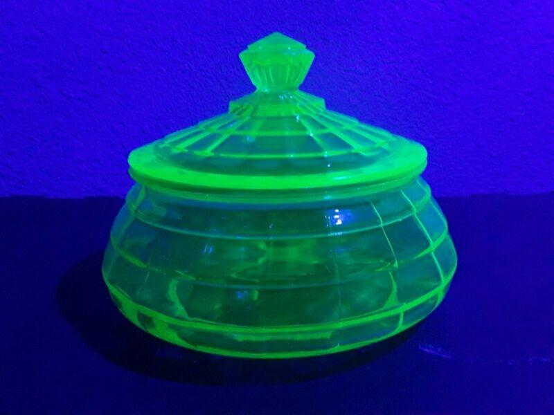Block Optic Candy Jar, with Lid, Uranium / Depression Glass