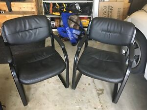 Two black chairs.