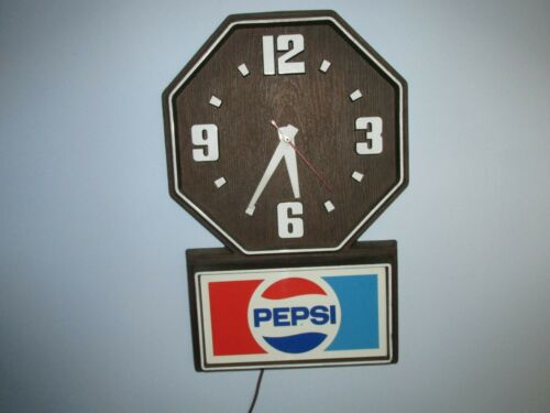 Vintage Pepsi Clock Sign Diner Style faux wood electric
