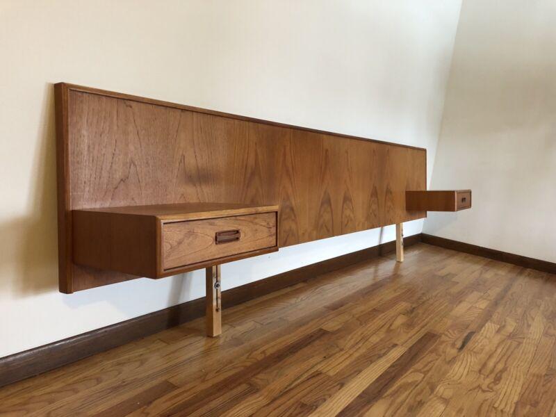 Vintage King Size TEAK Headboard With Floating Side Tables Mid Century Modern