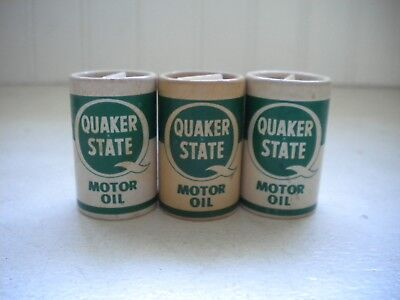 Set of 3 Vtg Quaker State Motor Oil Cans Salt & Pepper Shakers  for sale  Shipping to Canada