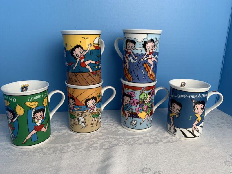 Betty Boop Collectors Mugs The Danbury Mint Fine Porcelain Set of 6 Tea Cup C20