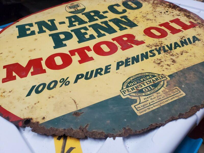 """Super Rare! 24"""" Green Enarco Penn motor oil Sign %100 pure Pennsylvania crude"""