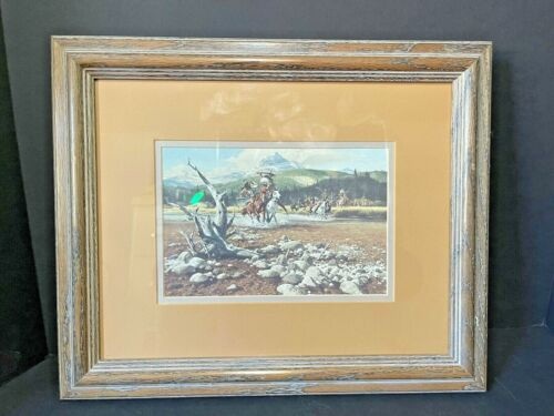 """Frank C McCarthy """"When His First Shot Was His Last"""" Double Matted Western Print"""