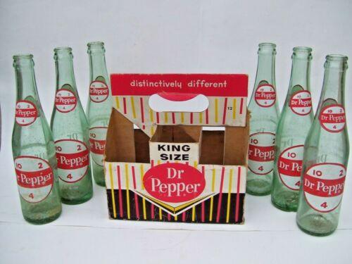 6 Vintage  Dr Pepper 10-2-4 POP SODA BOTTLE 10 OZ DISPLAYED IN CASE
