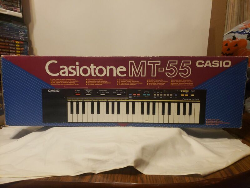 CASIO CASIOTONE MT-55 KEYBOARD FREE SHIPPING TESTED BOX POWER SUPPLY VINTAGE EUC