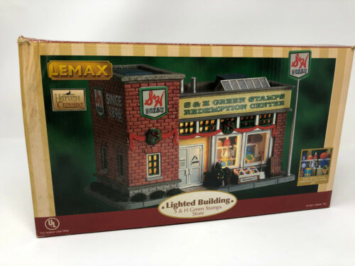 LEMAX LIGHTED BUILDING S&H S & H GREEN STAMPS STORE HARVEST CROSSING HOLIDAY