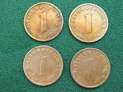 5 // Lot - 1 Reichspfennig 1937 - 1940 A, Kursmünze Deutsches Reich