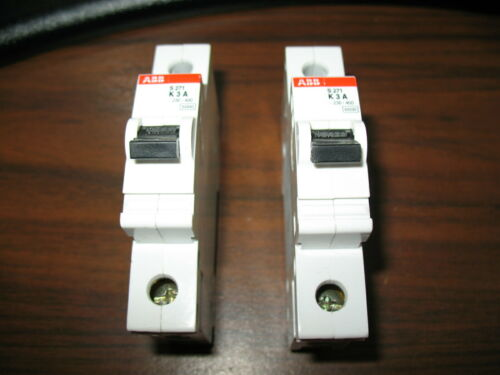 Lot of 2 ABB S271 K3A Circuit Breakers (3 Amp, 1 Pole, 230/400 Volt) S 271 K3A
