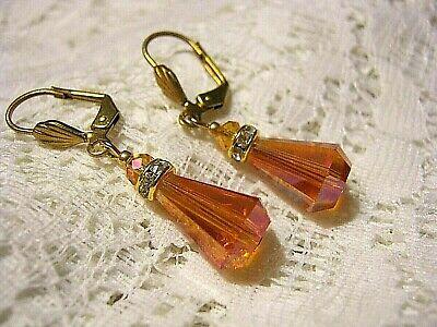 Austrian Crystal Drop Earrings Orange Iridescent Teardrops Artisan Vintage (Austrian Crystal Teardrop Earrings)