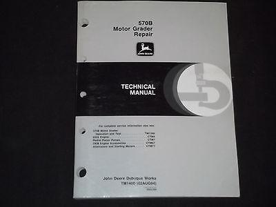 John Deere 570b Motor Grader Technical Service Repair Manual Tm-1400