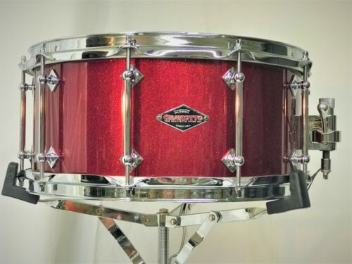 """Craviotto Custom Shop 6½ x 14"""" Solid Shell Snare Drum in Red Sparkle Lacquer"""