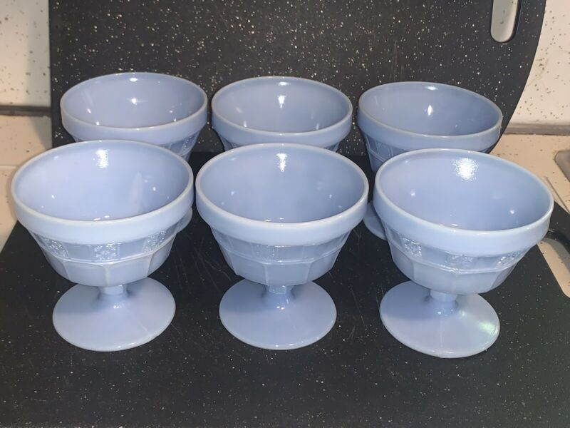 Set Of 6 Vintage Blue Delphite Jeanette Glass Dessert Sherbet Footed Cups