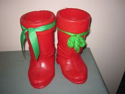 HARD TO FIND Vintage Blow Mold RED SANTA BOOTS