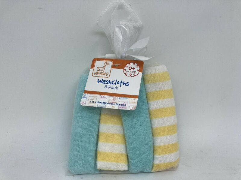 "NWT 8 Pack Swiggles 9"" x 9"" Baby Washcloths"