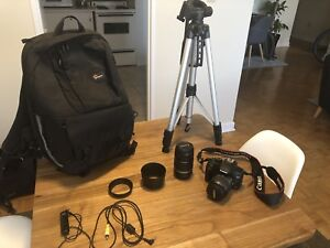 Canon  Rebel XS, 18-55mm, 55-250mm, backpack, tripod, remote