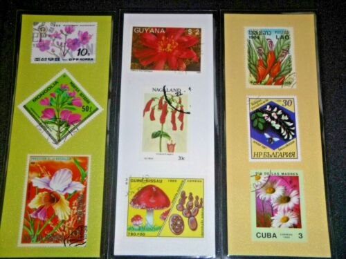 3 BOOKMARKS ~ FLOWERS Laminated POSTAGE STAMPS  ~AWESOME! MONGOLIA LAOS KOREA