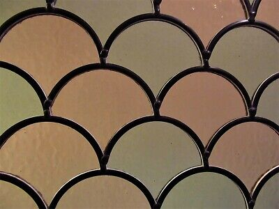 Newly crafted TRADITIONAL Stained Glass Window Panel FISH SCALES 268mm x 265mm
