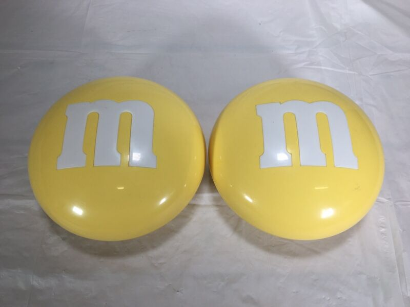 2 Vintage Large Plastic Yellow M&M