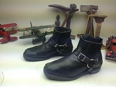 DISTRESSED X-ELEMENT SQUARE TOE HARNESS ENGINEER MOTORCYCLE ANKLE BOOTS 13 M