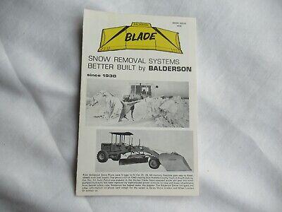 1975 Balderson Snow Removal Blade Specification Sheet Brochure