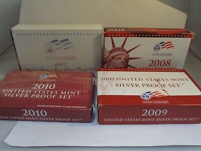 (4) U.S. Mint State Quarter Proof Sets - '07s,'08s,'09s,'10s w/ COA -#C130