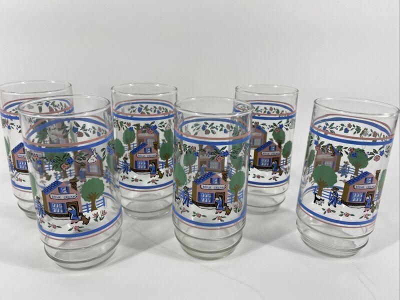International Heartland Village 14 Ounce glass tumblers (6 glasses)
