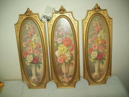 Vintage 1964 Syroco wall art Flower bouquet set of 3 Great condition