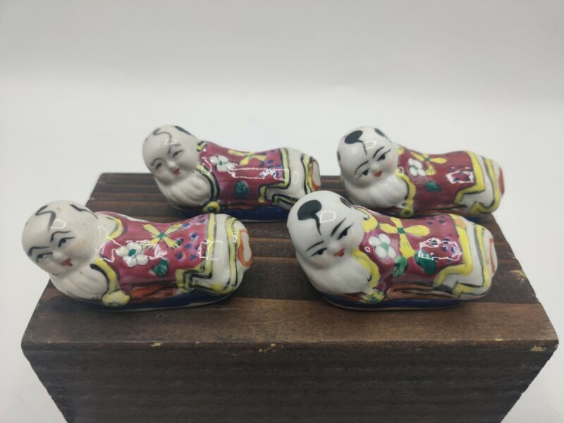 4 Vintage Hand Painted Chinese Porcelain Chopstick Knife Rests Baby Buddha