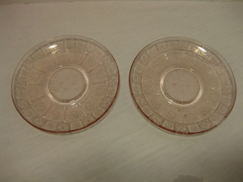 Two Jeannette Glass Circa 1937 Doric And Pansy Pink Childs Set Saucer