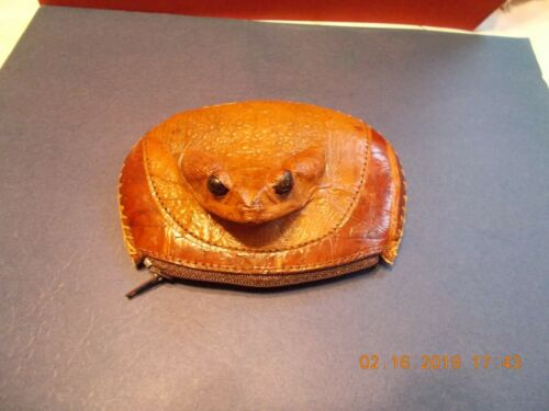 VINTAGE FROG HEAD SKIN LEATHER COIN PURSE WALLET