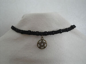 Hemp Necklace Choker Pentagram Charm Silver hippie  wiccan gothic pagan natural
